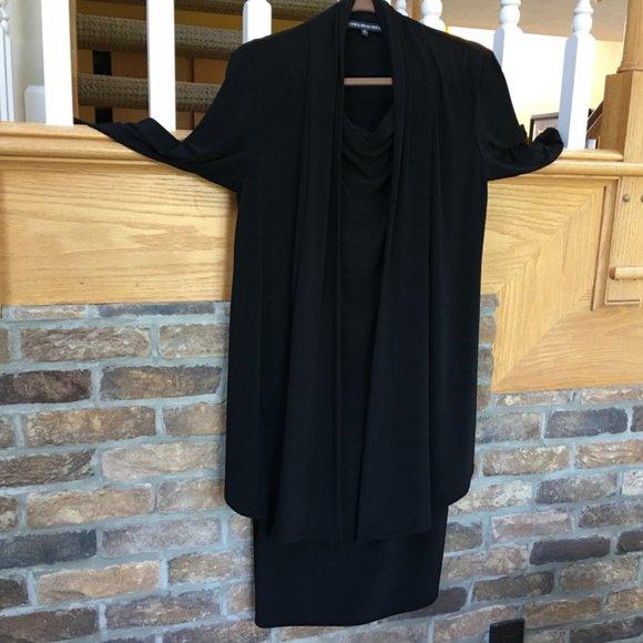 Jones Wear Black Cowl Neck Dress & Jacket